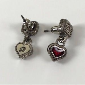 BRIGHTON Dangly Red Heart Earrings